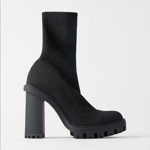 Zara Sock Style Heeled Ankle Boots NEW